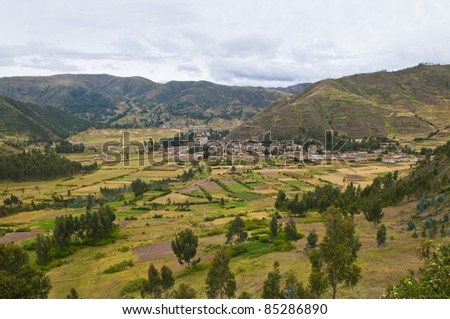 view of the Sacred valley in the Peruvian Andes - stock photo