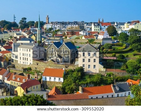 View of the Saint Peter Port. Bailiwick of Guernsey, Channel Islands - stock photo