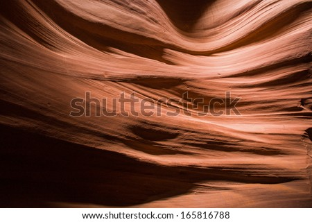 View of the sandstone patterns in the Antelope canyon, Arizona - stock photo
