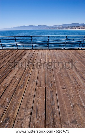 View of the Santa Monica Mountains from the pier - stock photo