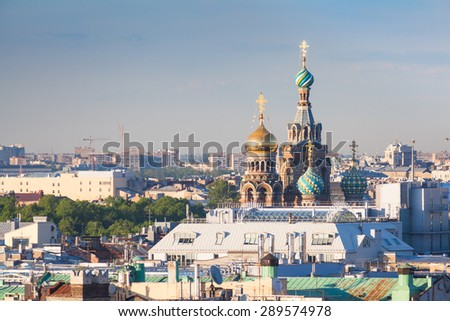 View of the Savior on Spilled Blood from the colonnade of St. Isaac's Cathedral - stock photo