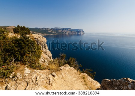 view of the sea and the mountains of the bay, Balaklava, Crimea
