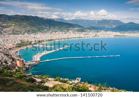 view of the sea and the town Alanya, Turkey - stock photo