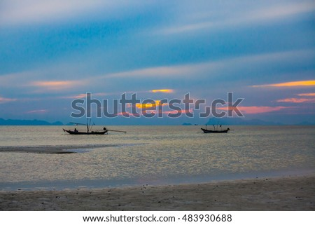 view of the sea before sunset at Koh Samui, Thailand.