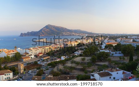 View of the sea coast from the city center (Spain) - stock photo