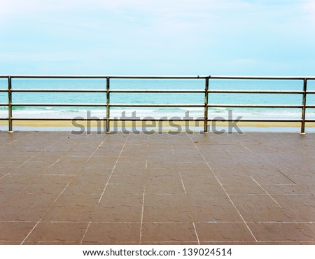 view of the sea from a hotel terrace - stock photo