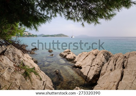 View of the sea from the shore after the storm - stock photo