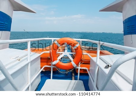 View of the sea from the stern of the motor ship - stock photo