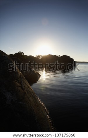 View of the sea in the summer, Sweden. - stock photo