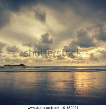 View of the sea in vintage style - stock photo