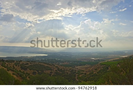 View of the sea of Galilee (Kineret lake) from mountain, Israel