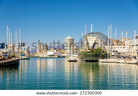 View of the seaport of Genoa - Italy - stock photo