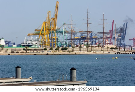 View of the Seaport of Valencia, Spain - stock photo