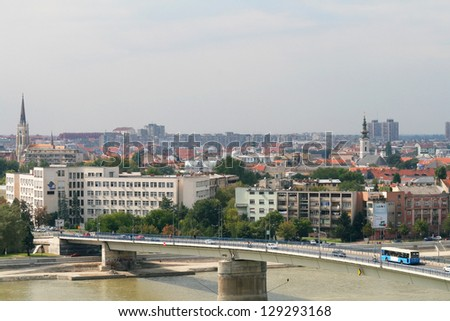 View of the Serbian city of Novi Sad and the bridge over the Danube river from the fortress Petrovardin