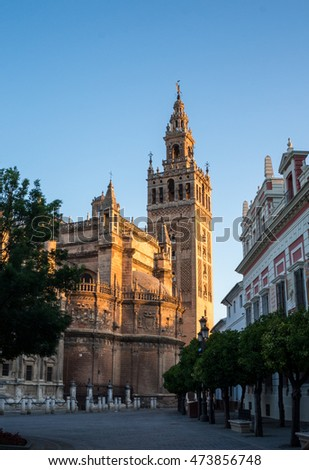 view of the Seville cathedral and giralda bell tower in summer 2016