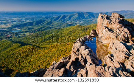 View of the Shenandoah Valley and Blue Ridge Mountains from Little Stony Man Cliffs, Shenandoah National Park, Virginia - stock photo