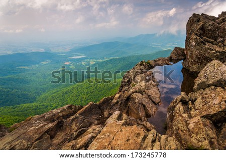 View of the Shenandoah Valley from cliffs on Little Stony Man Cliffs, in Shenandoah National Park, Virginia. - stock photo