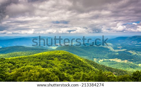 View of the Shenandoah Valley from Skyline Drive in Shenandoah National Park, Virginia. - stock photo