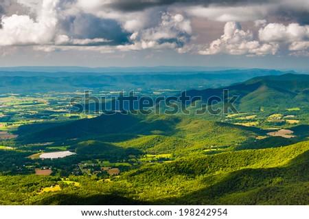 View of the Shenandoah Valley from Stony Man Mountain, Shenandoah National Park, Virginia. - stock photo