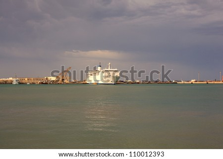 View of the Ship in the Trapani harbor, Italy