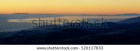 View of the Silicon Valley from Mount Hamilton at sunset.