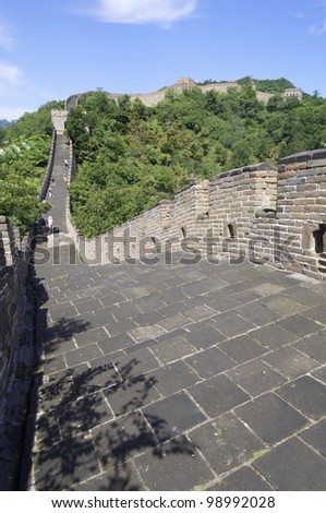 view of the Simatai Great Wall of China, Beijing, China - stock photo