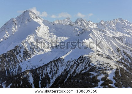 View of the ski area Ahorn - Mayrhofen, Austria - stock photo