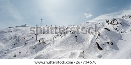 "View of the ski region ""Kitzsteinhorn"" near Kaprun in Austria in the wintertime - stock photo"