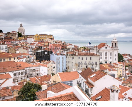 View of the Skyline of Lisbon in a cloudy day - stock photo