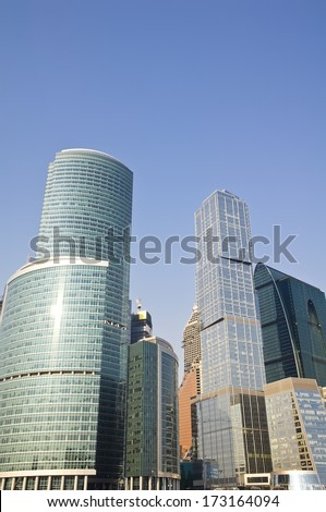 View of the Skyscrapers in the Moscow-city, Russian capital - stock photo