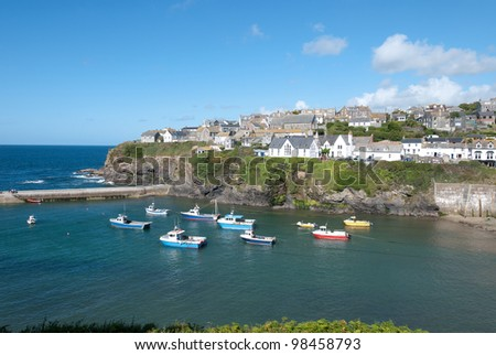 view of the small harbor of Port Isaac in Cornwall