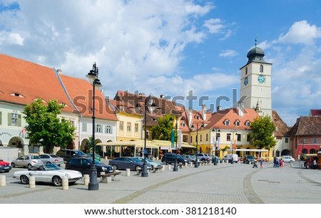 view of the Small Square - piata mica, the second fortified square in the medieval Upper town of Sibiu city. - stock photo