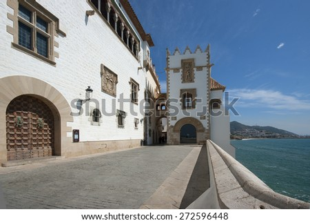 View of the small village mediterranean of Sitges,Catalonia.Spain - stock photo