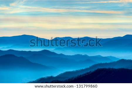 View of the Smoky Mountains from Route 441in Newfound Gap in Tennessee - stock photo