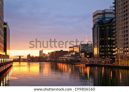 View of the South Dock in Canary Wharf, London. - stock photo