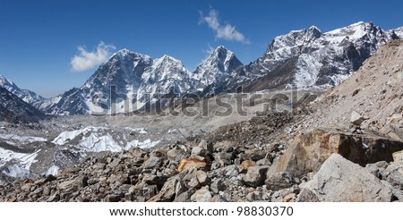 View of the South side of the Kala Patthar lodge along the glacier of Khumbu - Everest region, Nepal