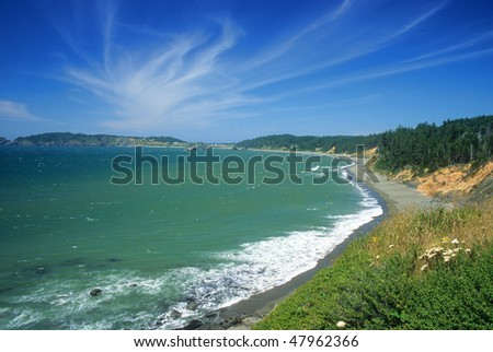 View of the southern coast of Oregon not far from the town of Gold Beach. - stock photo