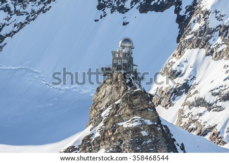 View of the Sphinx Observatory on Jungfraujoch,  one of the highest observatories in the world located at the Jungfrau railway station, Bernese Oberland, Switzerland. - stock photo