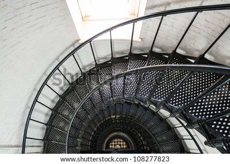 View of the spiral staircase inside the St. Augustine Lighthouse