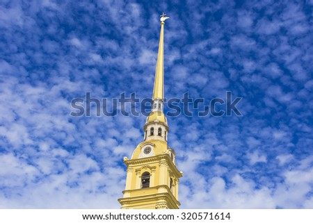 View of the spire of Peter and Paul cathedral in Peter and Paul fortress.St. Petersburg, Russia - stock photo