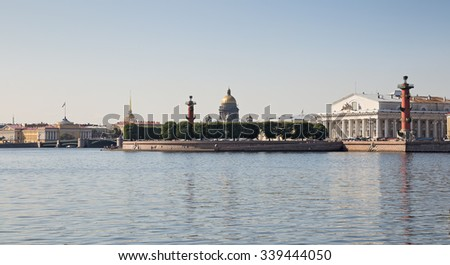 View of the Spit of Vasilevsky island at summer day, St. Petersburg - stock photo