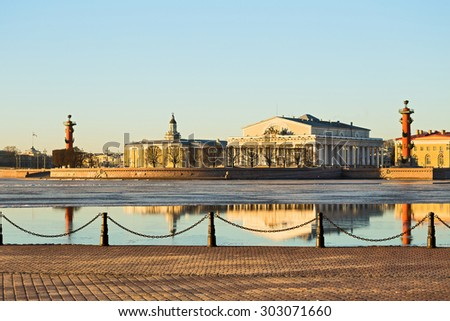 View of the Spit of Vasilevsky island early morning in winter, St. Petersburg - stock photo