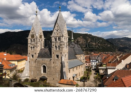 View of the St. Bartholomew Church in Friesach, the oldest town of Carinthia in Austria - stock photo