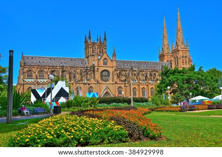 View of the St Mary's Cathedral and Hyde Park in Sydney  - stock photo