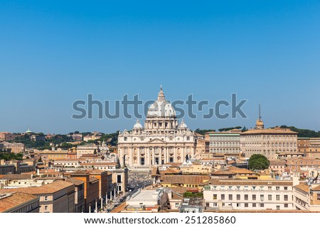View of the St Peter's Basilica and Vatican city from Castel Sant'Angelo - stock photo