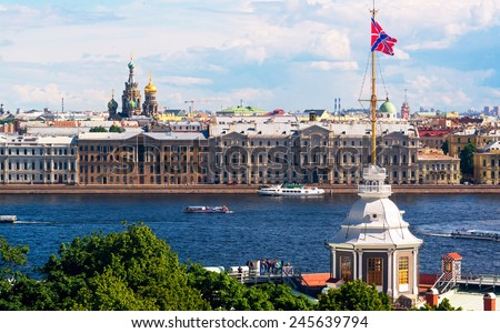 View of the St. Petersburg and the River Neva, Russia - stock photo