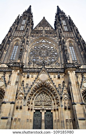 View of the St.Vitus Cathedral in Prague, Czech Republic. - stock photo