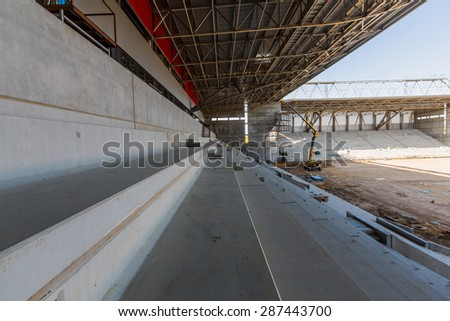 view of the stadium is being built - stock photo