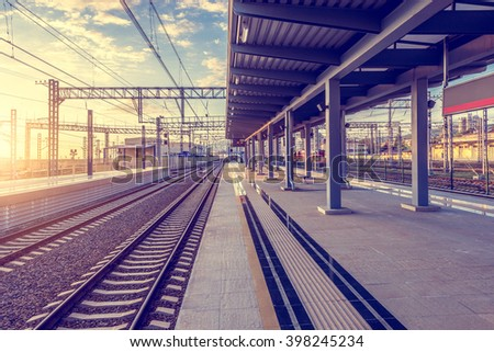 View of the station at sunset time. - stock photo
