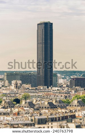 View of the streets and Montparnasse tower in the city of Paris - stock photo